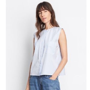 NWT Vince Side Slit Cropped Shell Blouse Sz S Blue